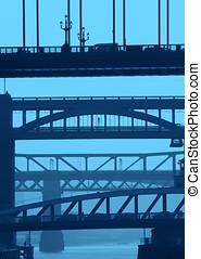 newcastle, ponts, dans, bleu