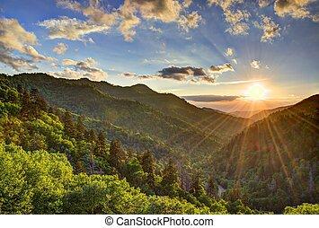 Newfound Gap in the Smoky Mountains near Gatlinburg,...