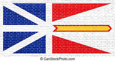 Newfoundland and Labrador flag, brick wall texture