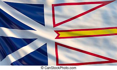 Newfoundland and Labrador flag. Waving flag of Newfoundland and Labrador province, Canada