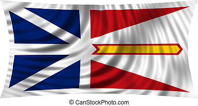 Newfoundland and Labrador flag waving on white