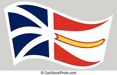 Newfoundland and Labrador flag wavy gray backdrop