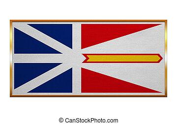 Newfoundland and Labrador flag with golden frame