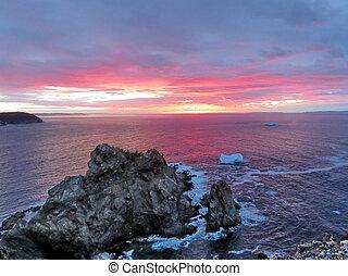 Newfoundland beautiful sunset and icebergs 2016