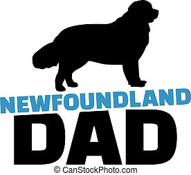 Newfoundland dad with dog silhouette