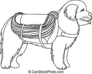 Newfoundland dog lifesaver outline