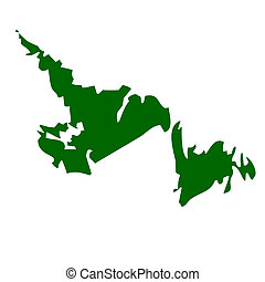 Map of Newfoundland province or territory in Canada, isolated on white background.