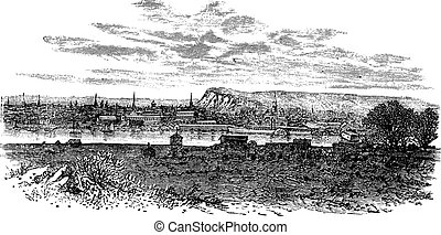 Newhaven in East Sussex, England, UK, vintage engraved illustration