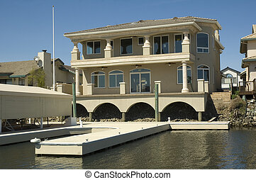 Newly constructed executive home with private dock