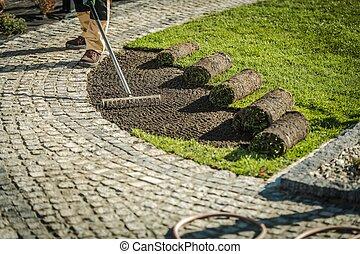 Garden Grass Turfs Installation