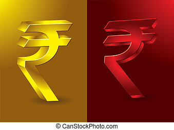 Newly formed Indian Rupees symbol in 3D