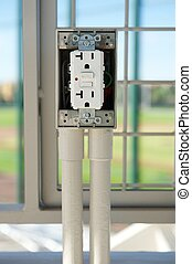 Newly Installed Electrical Outlet with GFCI - White...