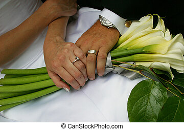 Newly Married Couple Holding Hands Wedding Bouquet - A...