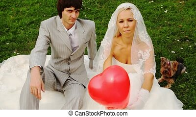 Newly-married couple sits with doggie and clicks fingers in sphere-heart in hands at bride