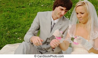Newly-married couple sitting on meadow are fastened to pink handcuffs