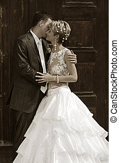 Newly married pair - Beautiful newly married pair. b/w+sepia