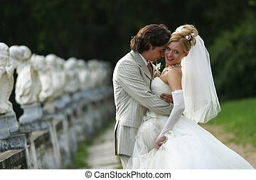 Newly married pair - Beautiful recently married pair in park