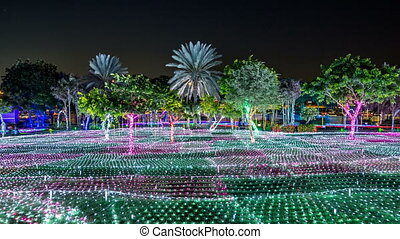 Newly opened Dubai Glow Garden day to night timelapse is a state of Art architecture featuring environment friendly architecture