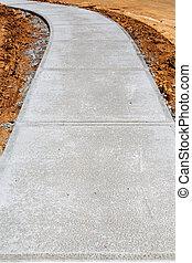 Newly Poured Concrete Sidewalk