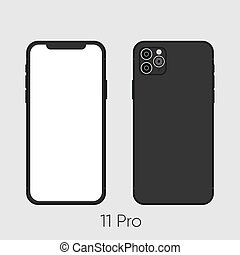 Newly released Black Smartphone 11, frond and back sides isolated on gray. Vector Illustration