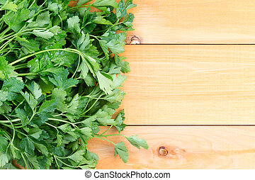 Newly washed fresh Italian parsley on a table