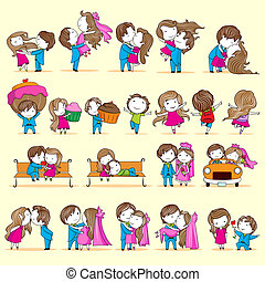 illustration of set of newly wed couple in different style