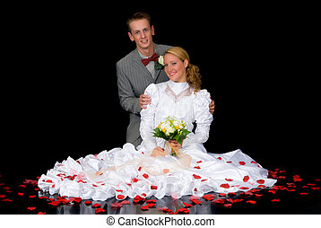 Newly wed couple - Young attractive newly wed couple. Black ...