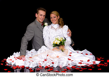 Newly wed couple - Young attractive newly wed couple. Black...