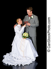 Newly wed couple - Young attractive newly wed couple with...