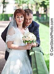 Newly wedding couple portrait