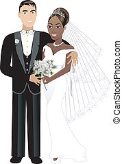 Newly Weds Blank - Vector Illustration of interracial couple...
