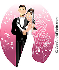 Newly Weds - Vector Illustration. A beautiful bride and...