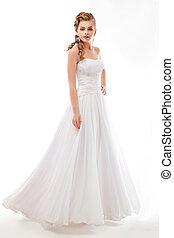 Newlywed beautiful woman in wedding dress - wedding style -...