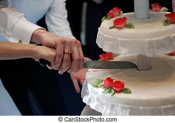 Newlywed couple cutting wedding cake