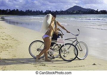 newlywed, párosít, a parton