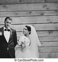 newlywed, párosít, együtt.