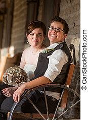 newlywed, párosít, képben látható, antik, bírói szék