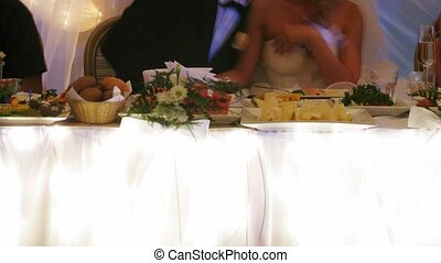 newlywed, para, na, poślubna partia