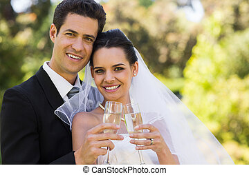 newlywed, pirítós, pezsgő furulya, -ban, liget
