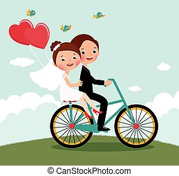 Newlyweds on a bike ride on a honeymoon