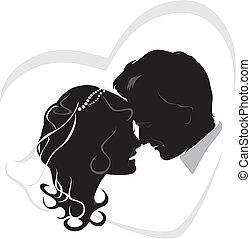 newlyweds., boda, icono
