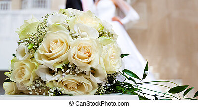 newlyweds, bouquetten, achtergrond, figuren, rozen, trouwfeest, witte