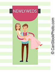 Newlyweds Bride and Groom Vector Illustration