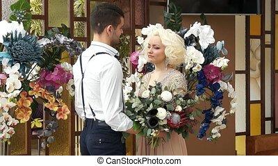 Newlyweds. Bridegroom and bride. Newlyweds married. Just...
