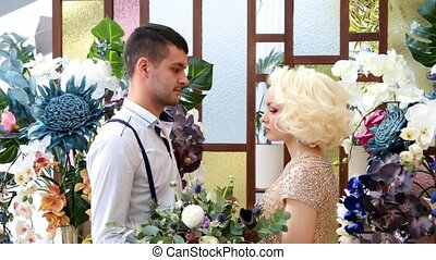 Newlyweds. Bridegroom and bride. Newlyweds married. Just...