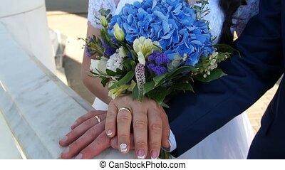Newlyweds. Bridegroom and bride. Newlyweds married. Just married