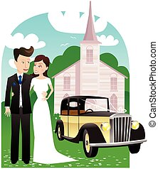 Newlyweds car and church.eps