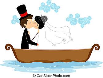 newlyweds, csókolózás, alatt, egy, csónakázik