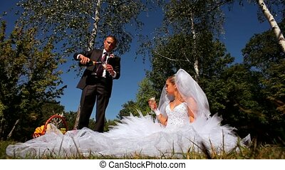 Newlyweds Drank Champagne On The Nature