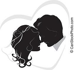 newlyweds., esküvő, ikon